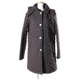 トラディショナルウェザーウェア Traditional Weatherwear コート 中綿 ステンカラー フード ツイード キルティング ウール 36 茶 ブラウン /☆y0419 レディース