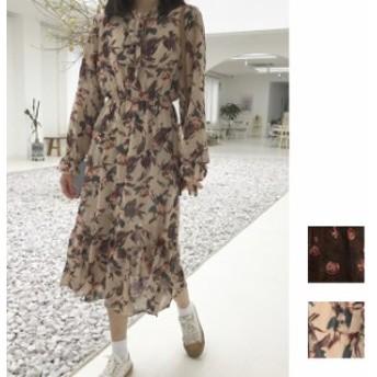 韓国 ファッション レディース ワンピース 夏 春 カジュアル naloE612 レトロ 花柄 ボウタイ ウエストシェイプ ロング Aライン オフィス