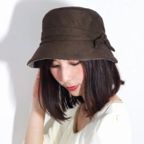 レディース 帽子 UV対策リボン 日よけ ハウスチェック 英国ブランド 麻混 日本製 ダックス 春
