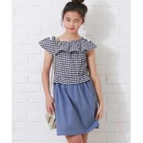 衿フリルドッキングワンピース(女の子 子供服。ジュニア服)ポケット付 ワンピース
