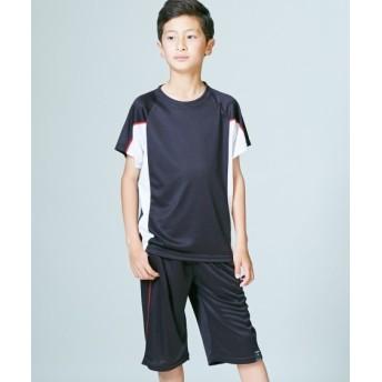 吸汗速乾 脇配色シャドーブリスターTスーツ上下セット(半袖Tシャツ+ハーフパンツ)(男の子 子供服。ジュニア服) キッズジャージ