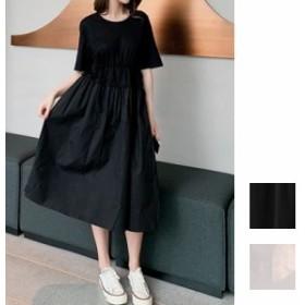 韓国 ファッション レディース ワンピース 夏 春 カジュアル naloE678 リゾートワンピース ハワイ ドローストリング ウエストシェイプ 切