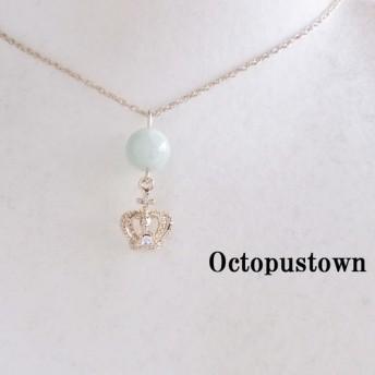 【5月の誕生石】 奇跡の石 翡翠と王冠チャームのネックレス(天然石/ライトゴールド)