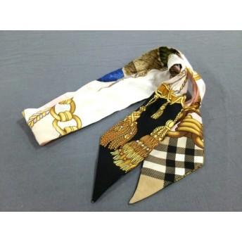 【中古】 バーバリー Burberry スカーフ ピンク マルチ リボンスカーフ