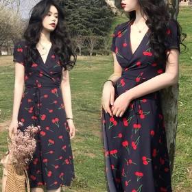 ロングワンピース ベルト調節可 ゆったり 楽ちん オシャレ スリット入り vネック 花柄 韓国ファッションワンピース
