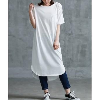バックロゴ胸ポケット付Tシャツワンピース