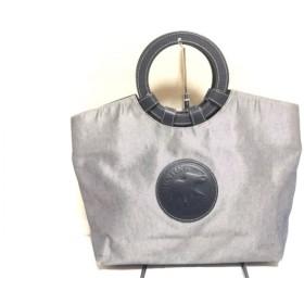 【中古】 ハンティングワールド HUNTING WORLD トートバッグ ネイビー ライトグレー キャンバス レザー