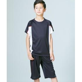 吸汗速乾 脇配色シャドーブリスターTスーツ上下セット(半袖Tシャツ+ハーフパンツ)(男の子 子供服。ジュニア服) Tシャツ・カットソー
