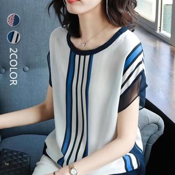 ブラウス トップス 無地 半袖 ゆったり プルオーバー バイカラーライン シフォン ラウンド襟 レディース韓国のファッション