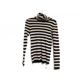 【中古】 ホコモモラ 長袖セーター サイズ40 XL レディース ベージュ 黒 タートルネック/ボーダー