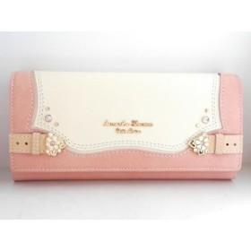 【中古】 サマンサタバサプチチョイス 長財布 美品 ピンク アイボリー フラワー/ラインストーン 合皮