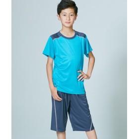 吸汗速乾 肩配色シャドーブリスターTスーツ上下セット(半袖Tシャツ+ハーフパンツ)(男の子。女の子 子供服。ジュニア服) Tシャツ・カットソー