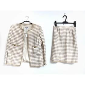 【中古】 シャネル CHANEL スカートスーツ サイズ38 M レディース ベージュ アイボリー 肩パッド