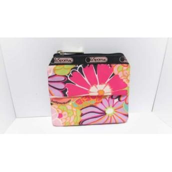 【中古】 レスポートサック 小物入れ 黒 ピンク マルチ ティッシュケース/花柄 レスポナイロン