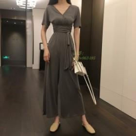 Vネック 半袖 レディース 通学 ロングパンツ 薄手 通勤 女性用 パンツドレス オールインワン パーティードレス ワイドパンツ サロペット