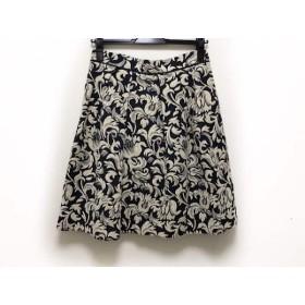 【中古】 ロイスクレヨン Lois CRAYON スカート サイズM レディース 美品 アイボリー ダークグレー 刺繍