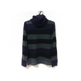 【中古】 ジユウク 長袖セーター サイズ38 M レディース ダークグレー グレー パープル ボーダー