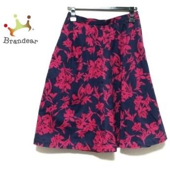 ノーブル NOBLE スカート サイズ40 M レディース ネイビー×ピンク 花柄       スペシャル特価 20200104