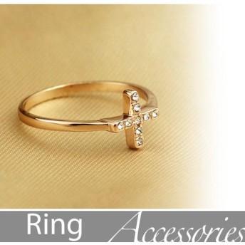 指輪 レディース クロスリング ファション アクセサリー 人工ダイヤ 十字架 jz5307