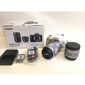 二子玉) canon EOS Kiss M ダブルズームキット 新品同様 EF-M15-45mm F3.5-6.3 IS STM EF-M55-200mm F4.5-6.3 IS STM カメラバッグ