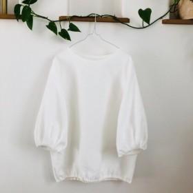 リネンバルーンカフス袖2way裾ゴム入り白