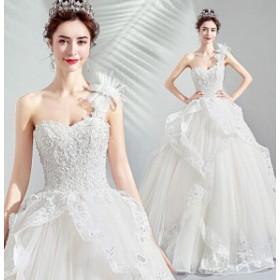 ウエディングドレス レディース オシャレ バックレス 花嫁ドレス 上品な ブライダルドレス ベアトップ ラインストーン付き ホワイト 素敵