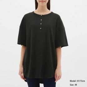 (GU)ヘンリーネックオーバーサイズT(5分袖) BLACK L