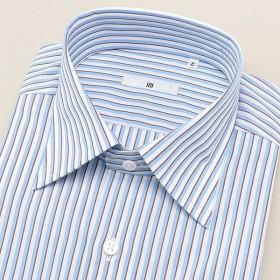 [マルイ] ワイドカラードレスシャツ/青×白&茶ストライプ/COOL Oil guard【SL-4ややゆったり】/スーツセレクト(メンズ)(SUIT SELECT)