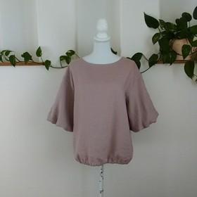 (送料無料)リネンバルーン袖裾ゴム入りスモークピンク
