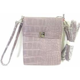 【中古】センプリチェ Semplice 3WAY 二つ折り 財布 ショルダー クラッチ バッグ ウォレット クロコ型押し レザー パープル 紫