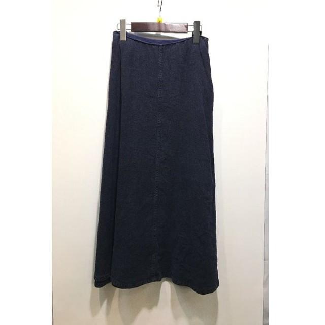 経堂) raspail ラスパイユ リネンフレアスカート 定価3万 ネイビー サイズ36
