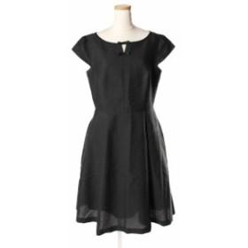 【中古】トッカ TOCCA 18AW LONG ISLAND ドレス ワンピース ひざ丈 半袖 洗える リボン ジャガード 4 黒 ブラック /☆y0425