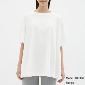 (GU)フレアオーバーサイズT(5分袖) OFF WHITE XL