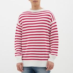 (GU)マリンボーダークルーネックセーター(長袖) RED M