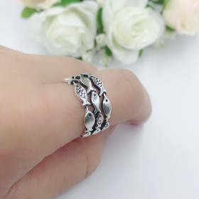 可愛いサカナの銀のオープンリング 指輪 シンプル 動物 SV RURURU シルバー【E1-1】