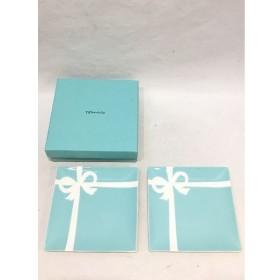 経堂) ティファニー Tiffany ブルーボウ スクエア デザート プレート 2枚 セット 14cm 美品