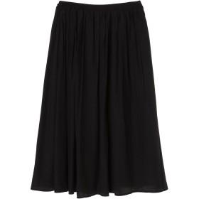 OandI 【OandI/オーアンドアイ】サテン風ギャザースカート ロング・マキシ丈スカート,black