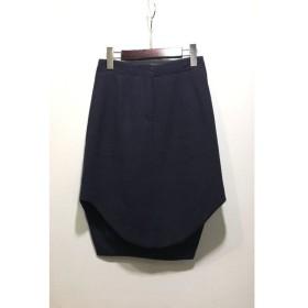 経堂) カルヴェン CARVEN デザインスカート ウール ネイビー 紺 レディース 36 変形スカート