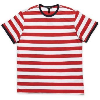 Tシャツ - FOREVER 21【MEN】 【ボーダークルーネックリンガーTシャツ】無地 シンプル 赤 レッド XS S M L 半袖tシャツ