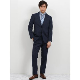 【TAKA-Q:スーツ・ネクタイ】ストレッチウォッシャブル ストライプ紺 2ピーススーツ レギュラーフィット