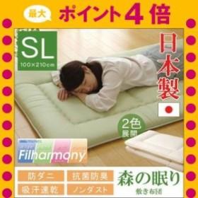 敷き布団 シングルロング 寝具 無地 ヒバエッセンス使用 『i森の眠り』 グリーン 約100×210cm [13]