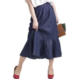 [マルイ] 大きいサイズ レディース 裾 フレア ダンガリー デニム ティアード スカート ウエスト ゴム/ゴールドジャパン(大きいサイズ)(GOLDJAPAN)