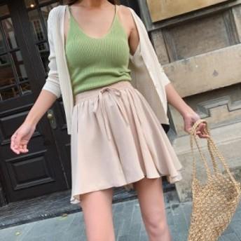 ミニスカート?新入荷★韓国ファッション スカート シフォン ふわふわ感 無地Aライン ゆったり 夏 かわいい 裏地付き 透けない