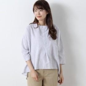 綿麻素材のストライププルオーバーシャツ