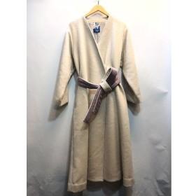 代官山) マルテ MARTE 18AW バイカラーガウンコート FREE アイボリー×パープル ウール 定価3万