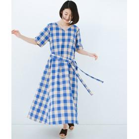 ハコ さらっと着られて1枚でサマになるリボンベルト付きチェックロングワンピース レディース ブルー M 【haco!】