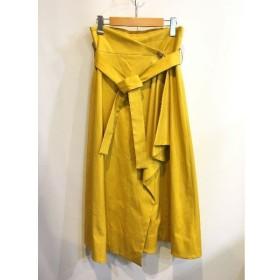 二子玉) エリン ELIN 18SS ウエストベルトラップスカート レディース 38 M イエロー ロングスカート 黄 定価4万