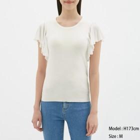 (GU)フレアスリーブセーター(半袖)Z OFF WHITE L