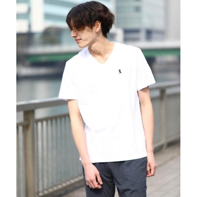 【61%OFF】 ジョルダーノ [GIORDANO]ライオン刺繍VネックTEE メンズ ホワイト M 【GIORDANO】 【セール開催中】
