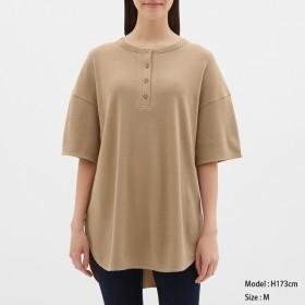 (GU)ヘンリーネックオーバーサイズT(5分袖) BROWN XL